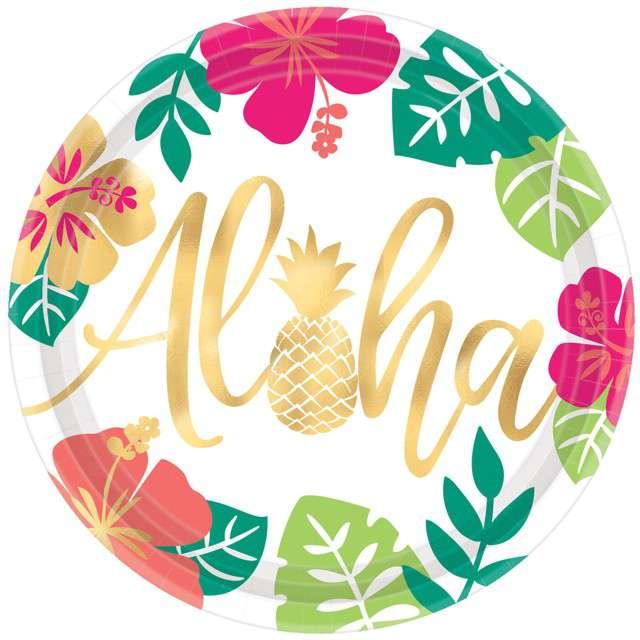 """Talerzyki papierowe """"Aloha - Ananas"""", AMSCAN, 26 cm, 8 szt"""