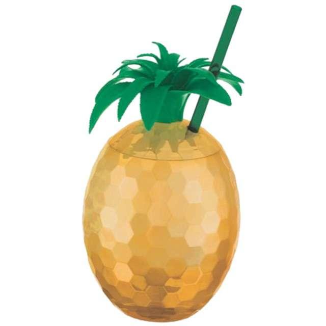 """Kubek plastikowy """"Złoty Ananas ze słomką"""", AMSCAN, 828 ml"""