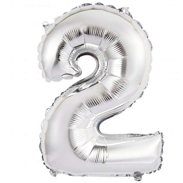 "Balon foliowy cyfra 2, 14"", GoDan, srebrna"