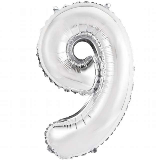 "Balon foliowy cyfra 9, 14"", GoDan, srebrna"