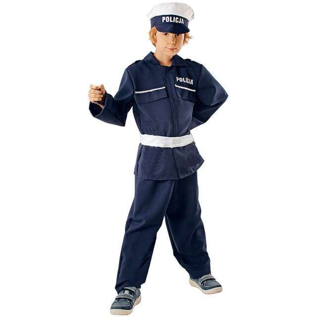 """Strój dla dzieci """"Policjant z czapką"""", rozm. 134/140 cm"""