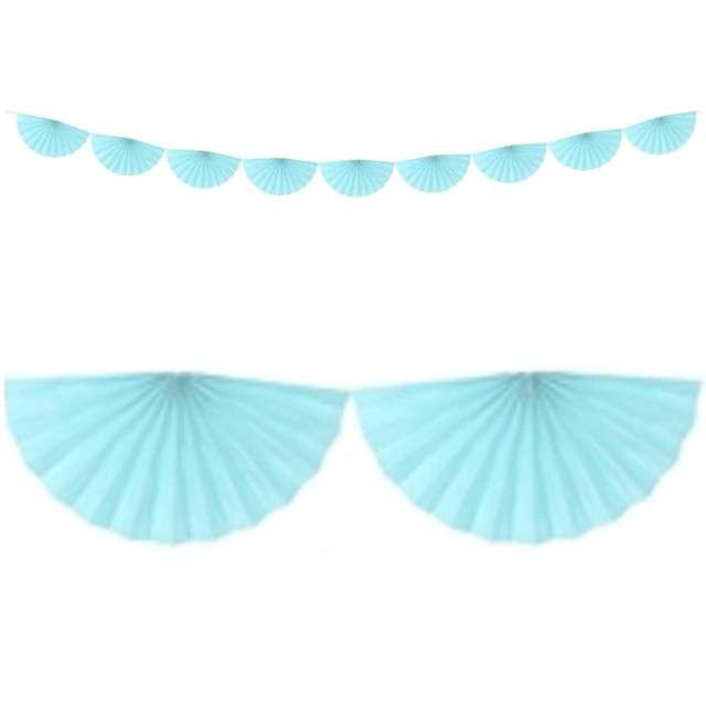 """Girlanda bibułowa """"Rozety"""", błękitna jasna, PartyDeco, 300x15 cm"""