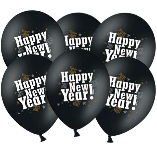 "Balony 14"", ""Happy New Year"", STRONG, Metalik Black, 6 szt"