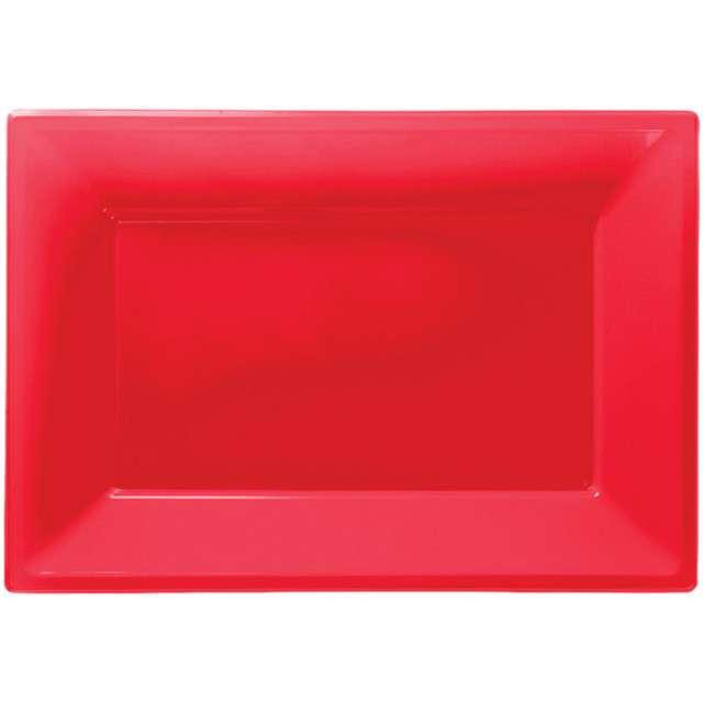 """Talerzyki plastikowe """"Prostokąt"""", AMSCAN, czerwone, 33 x 23 cm, 3 szt"""