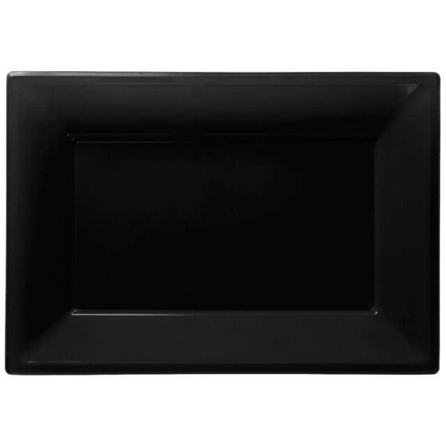 """Talerzyki plastikowe """"Prostokąt"""", AMSCAN, czarne, 33 x 23 cm, 3 szt"""