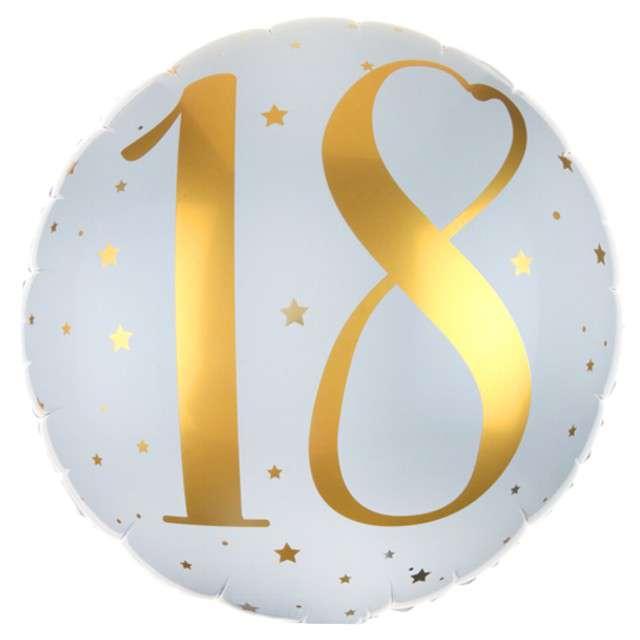 Balon foliowy 18 Urodziny - złote SANTEX biały 14 CIR