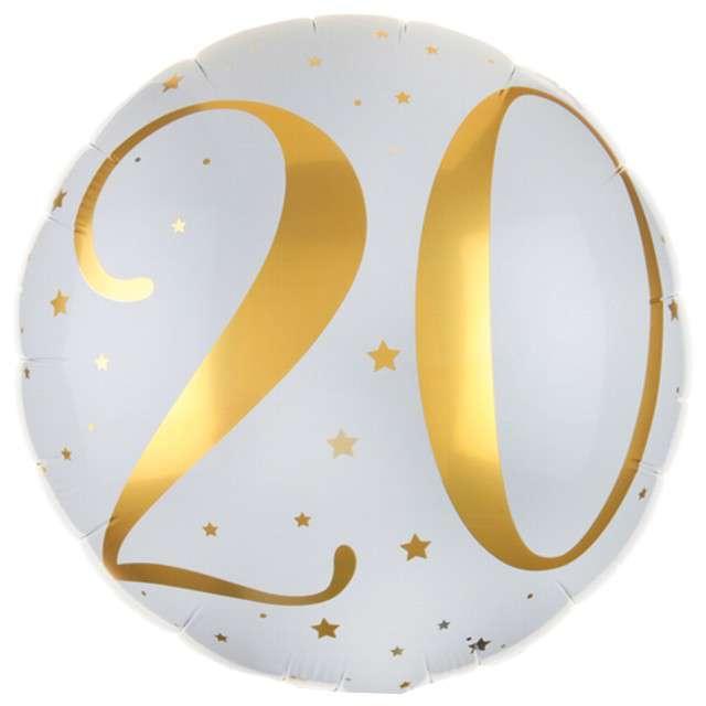 """Balon foliowy """"20 Urodziny - złote"""", SANTEX, biały, 14"""" CIR"""