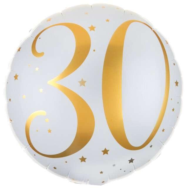 """Balon foliowy """"30 Urodziny - złote"""", SANTEX, biały, 14"""" CIR"""
