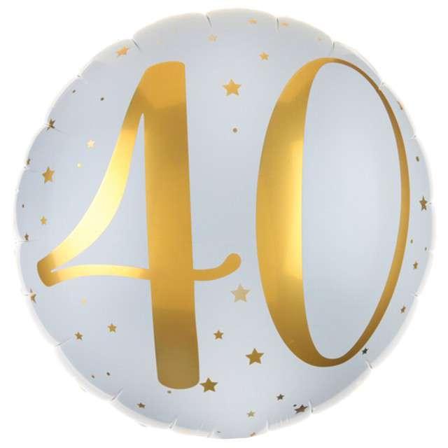 """Balon foliowy """"40 Urodziny - złote"""", SANTEX, biały, 14"""" CIR"""