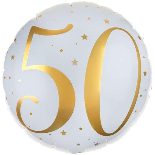 """Balon foliowy """"50 Urodziny - złote"""", SANTEX, biały, 14"""" CIR"""