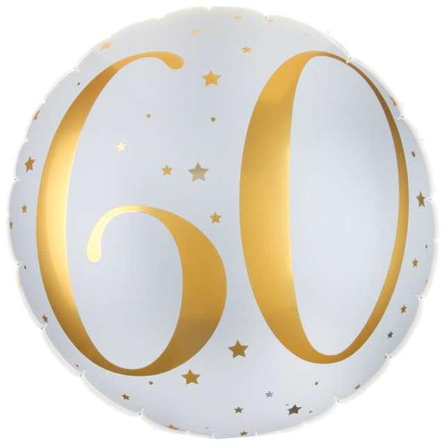 """Balon foliowy """"60 Urodziny - złote"""", SANTEX, biały, 14"""" CIR"""