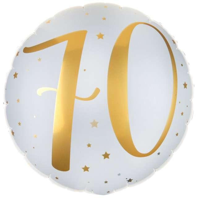"""Balon foliowy """"70 Urodziny - złote"""", SANTEX, biały, 14"""" CIR"""