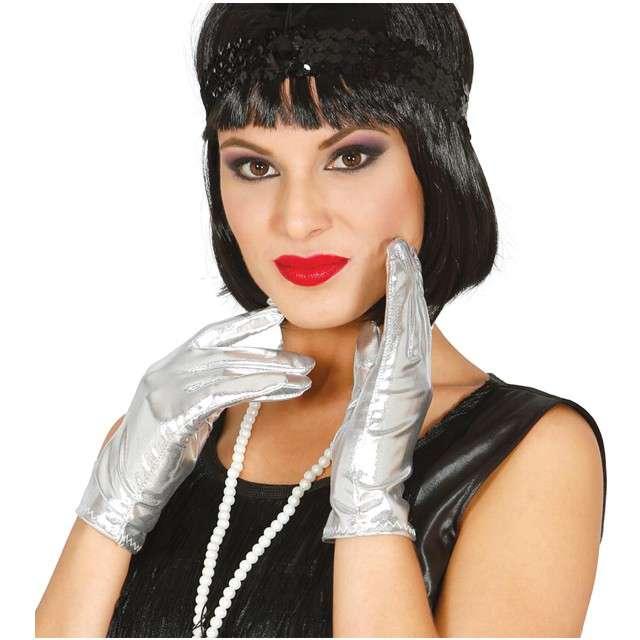 "Rękawiczki ""Elegant"", srebrne, GUIRCA, 22 cm"