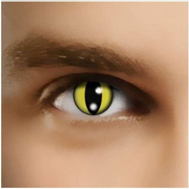 """Soczewki kolorowe """"Kocie Oczy"""", żółte, Smiffys, jednodniowe"""
