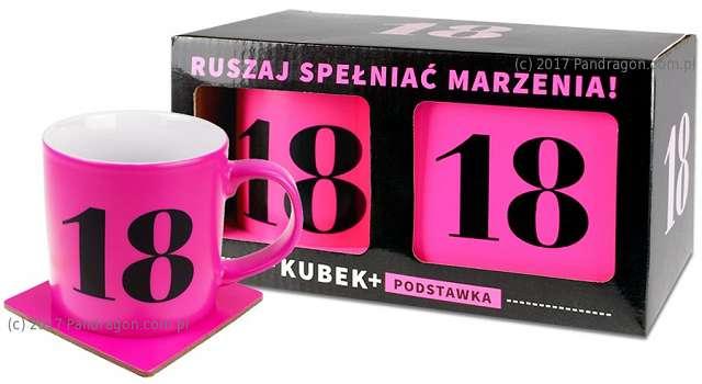 """Kubek """"18 Urodziny - Neon"""", różowy, Pan Dragon"""