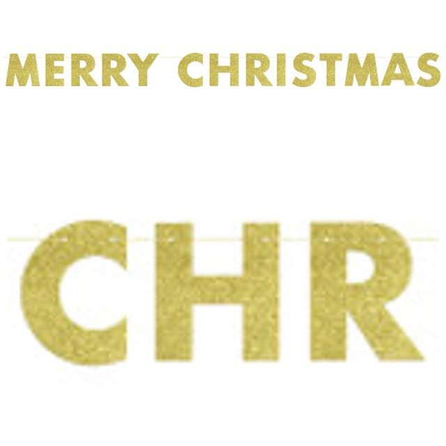 "Baner ""Merry Christmas"", złoty brokat, UNIQUE, 275 cm"
