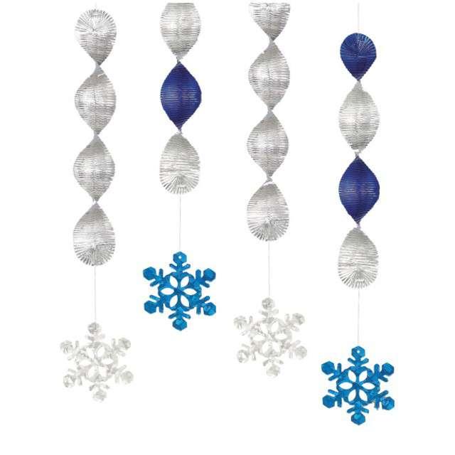 """Świderki wiszące """"Płatki Śniegu"""", UNIQUE, 46 cm, 4 szt"""