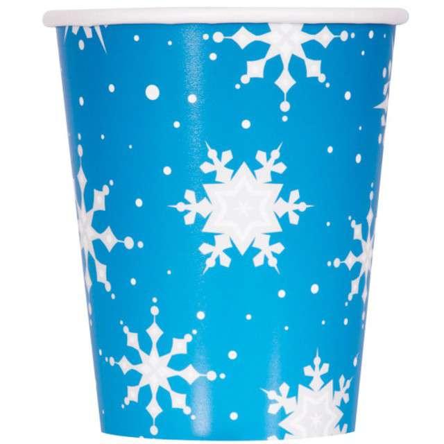 """Kubeczki papierowe """"Świąteczne Śnieżynki"""", UNIQUE, 266 ml, 8 szt"""