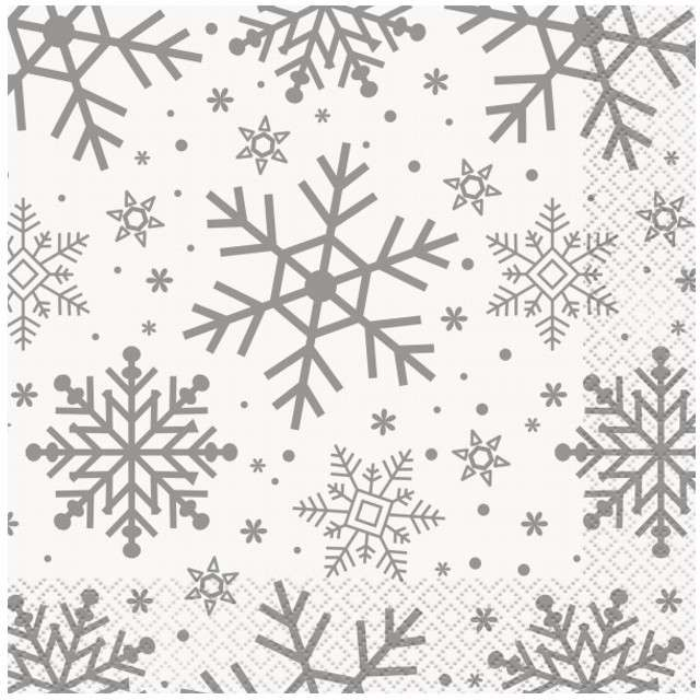 """Serwetki """"Płatki Śniegu"""", UNIQUE, 33 cm, 16 szt"""