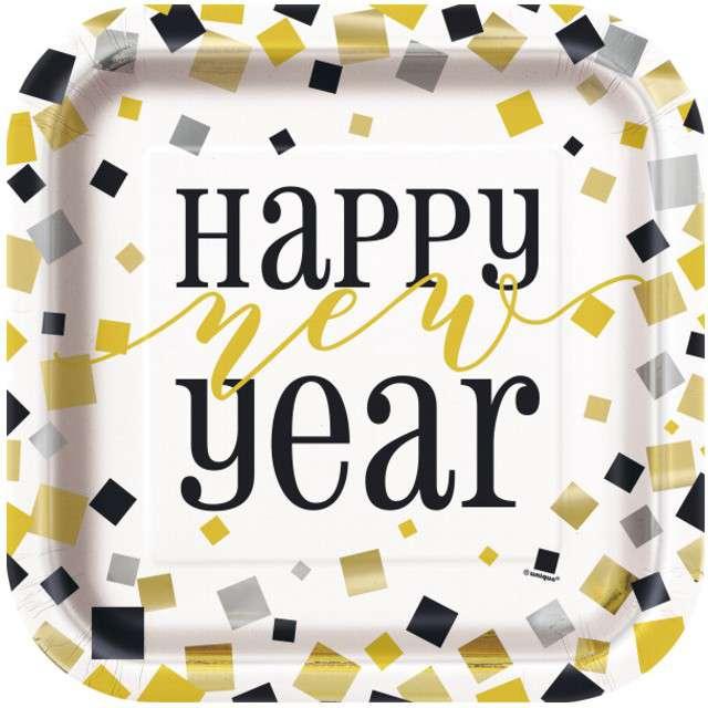 """Talerzyki papierowe """"Happy New Year"""", UNIQUE, 23 cm, 8 szt"""