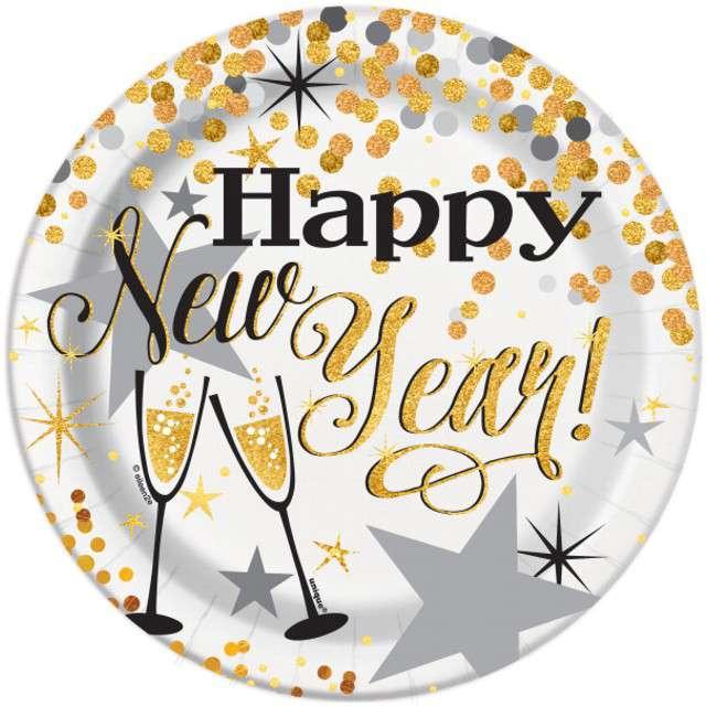 """Talerzyki papierowe """"Happy New Year"""", UNIQUE, 18 cm, 8 szt"""