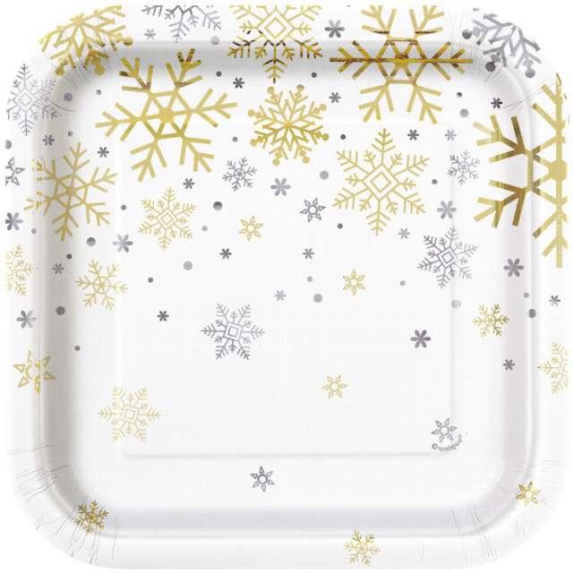 """Talerzyki papierowe """"Płatki Śniegu"""", UNIQUE, 18 cm, 8 szt"""
