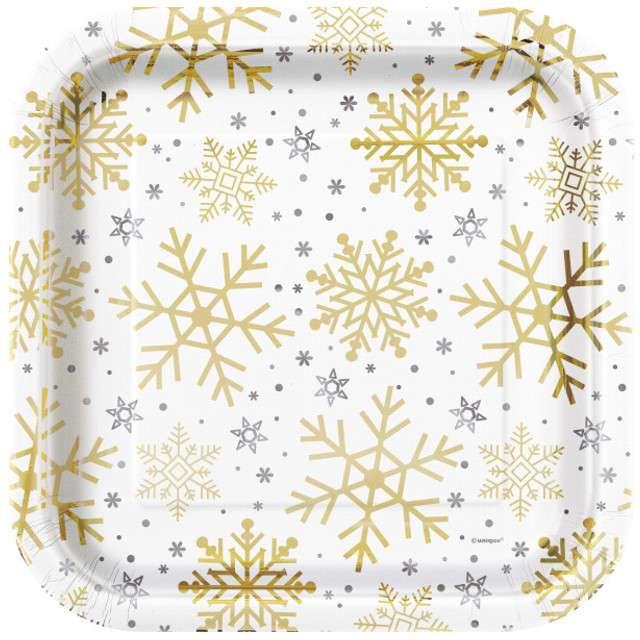 """Talerzyki papierowe """"Płatki Śniegu"""", UNIQUE, 23 cm, 8 szt"""
