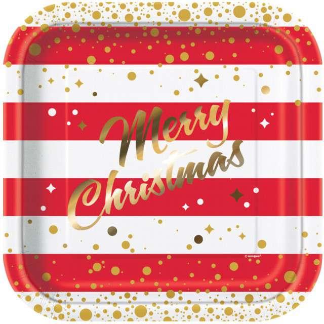 """Talerzyki papierowe """"Merry Christmas"""", UNIQUE, 23 cm, 8 szt"""