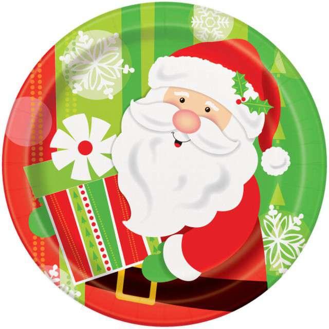"""Talerzyki papierowe """"Święty Mikołaj z prezentem"""", UNIQUE, 23 cm, 8 szt"""