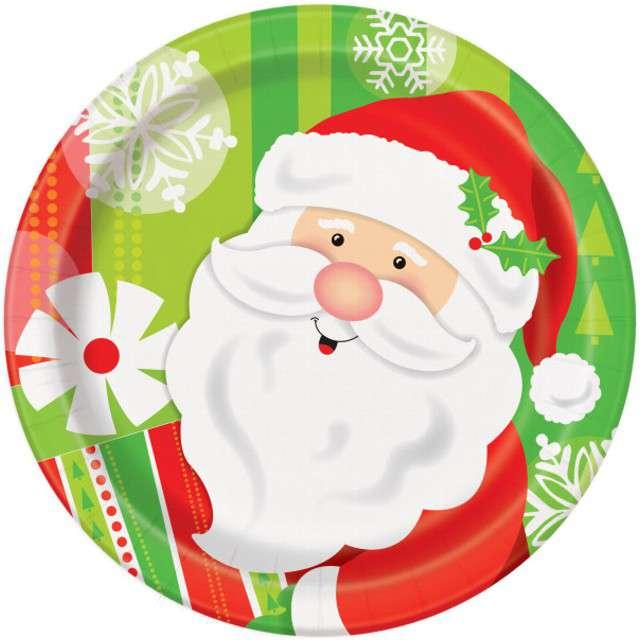 """Talerzyki papierowe """"Święty Mikołaj z prezentem"""", UNIQUE, 18 cm, 8 szt"""