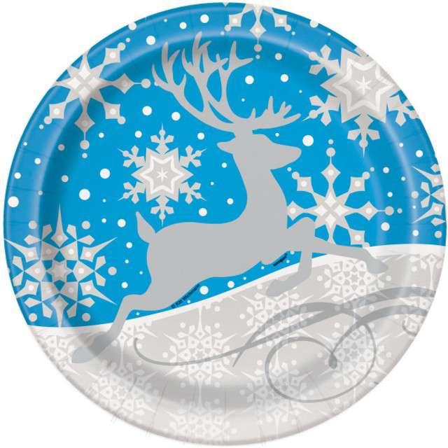 """Talerzyki papierowe """"Śnieżny Renifer """", UNIQUE, 23 cm, 8 szt"""