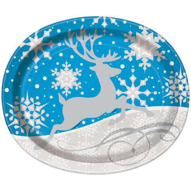 """Talerzyki papierowe """"Śnieżny Renifer - owal"""", UNIQUE, 30 cm, 8 szt"""
