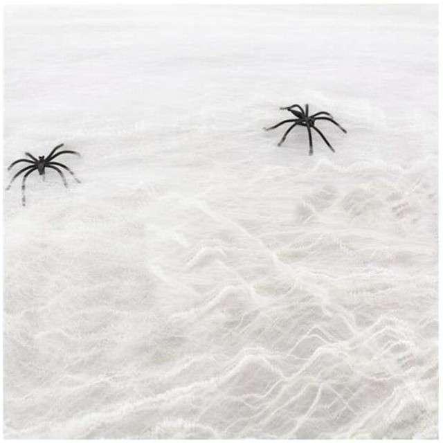 """Dekoracja """"Pajęczyna z pająkami Nylon"""", biała, 60 g"""