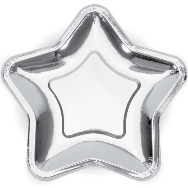 """Talerzyki papierowe """"Gwiazdki"""", srebrne chrom, 23 cm, 6 szt"""