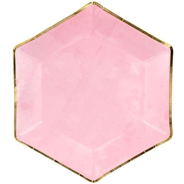 """Talerzyki papierowe """"Bride to be"""", różowe, PartyDeco, 23 cm, 6 szt"""