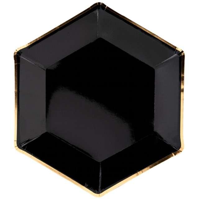 """Talerzyki papierowe """"Black and Gold"""", czarne, PartyDeco, 23 cm, 6 szt"""