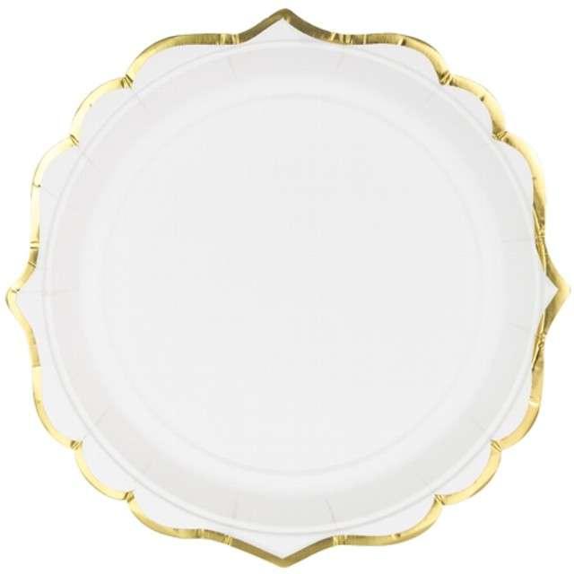 """Talerzyki papierowe """"Gold Ornament"""", białe, PartyDeco, 18,5 cm, 6 szt"""