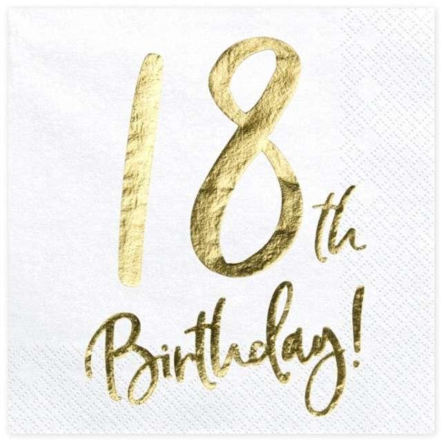 """Serwetki """"18th Birthday - złote urodziny"""", PartyDeco, białe, 33 cm, 20 szt"""