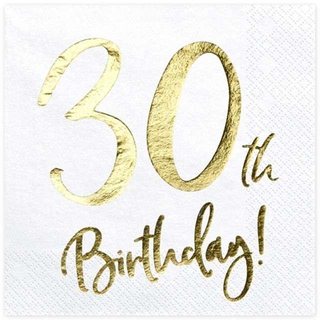 """Serwetki """"30th Birthday - złote urodziny"""", PartyDeco, białe, 33 cm, 20 szt"""