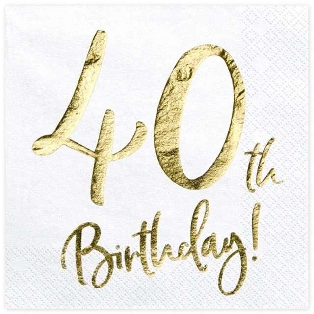 """Serwetki """"40th Birthday - złote urodziny"""", PartyDeco, białe, 33 cm, 20 szt"""