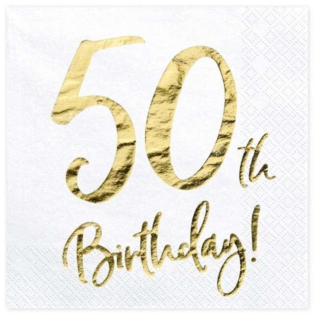 """Serwetki """"50th Birthday - złote urodziny"""", PartyDeco, białe, 33 cm, 20 szt"""