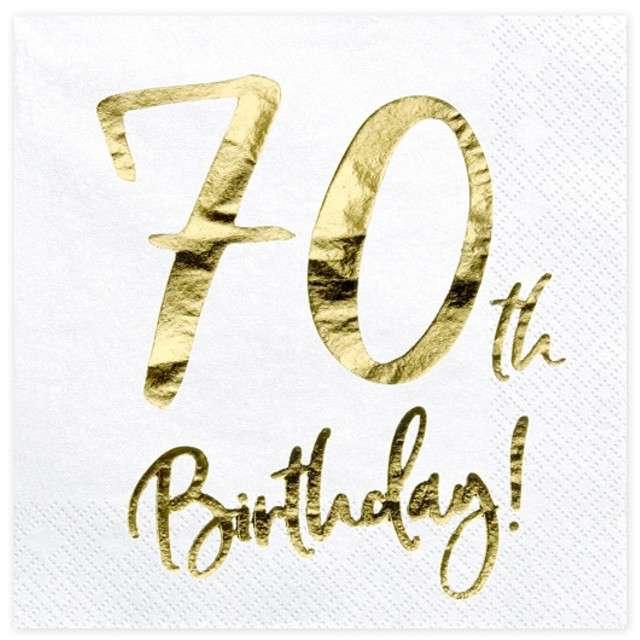 """Serwetki """"70th Birthday - złote urodziny"""", PartyDeco, białe, 33 cm, 20 szt"""