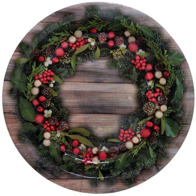 """Talerzyki papierowe """"Holly Christmas"""", SANTEX, 23 cm, 10 szt"""