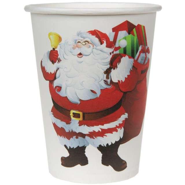"""Kubeczki papierowe """"Święty Mikołaj"""", SANTEX, 250 ml, 10 szt"""