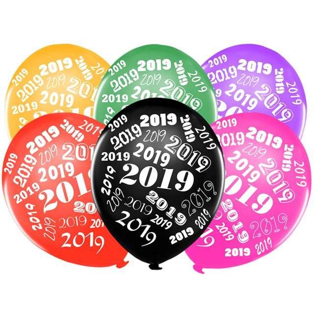 """Balony 12"""", """"2019"""", STRONG, metallic mix, 50 szt"""