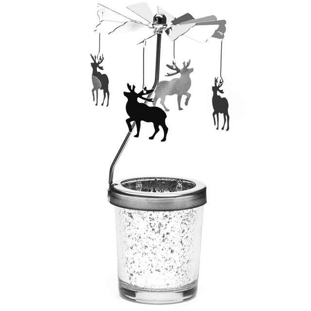 """Świecznik """"Renifery srebrzyste"""", 18 cm, GM"""