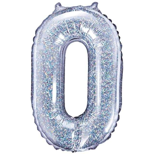 "Balon foliowy cyfra 0, 14"", PartyDeco, srebrny holograficzny"