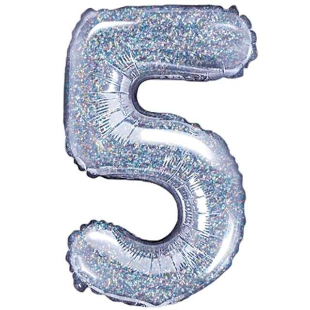 "Balon foliowy cyfra 5, 14"", PartyDeco, srebrny holograficzny"