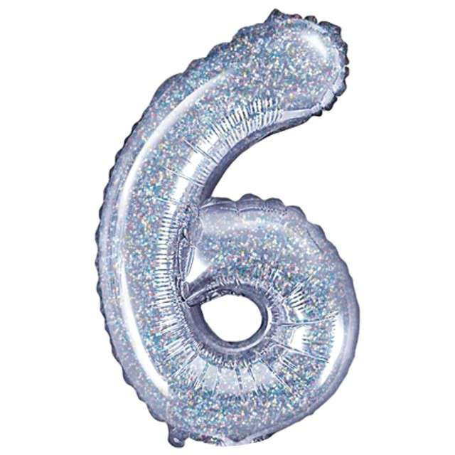 "Balon foliowy cyfra 6, 14"", PartyDeco, srebrny holograficzny"