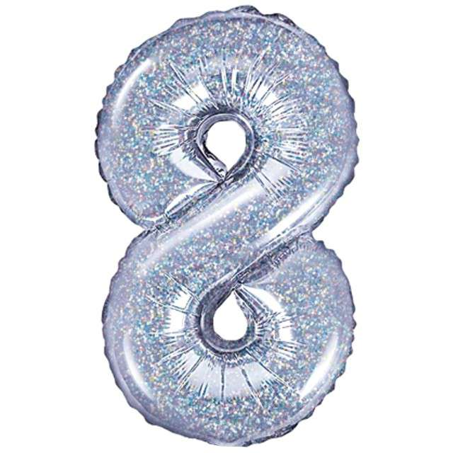 "Balon foliowy cyfra 8, 14"", PartyDeco, srebrny holograficzny"